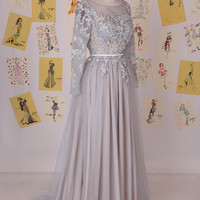 Silver Grey Long Sleeves Beading Lace Appliques Long Prom Dress/Luxury Tulle Prom Dress/Modest Evening Dress/Lace Prom Dress DAF0005