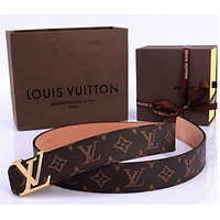 LV Louis Vuitton classic vintage old flower belt letter buckle belt