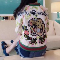 """Gucci"" Women Fashion Multicolor Letter Flower Tiger Head Embroidery Long Sleeve Zip Cardigan Baseball Clothes Jacket Coat"