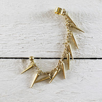 Simple Ear Cuff with Spike Chain Earring in Gold