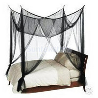 Black 4 Corner Canopy Bed Netting- Fits all Bed Sizes