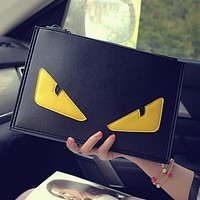 Wearwinds FENDI Newest Popular Woman Men Envelope Clutch Bag PU Leather File Bag Tote Handbag Crossbody Satchel Yellow