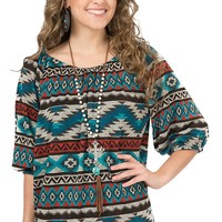 R. Rouge Women's Turquoise and Grey Aztec Print 3/4 Sleeve Fashion Top