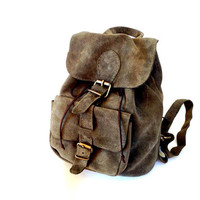 Suede Army Green/Grey Leather Backpack
