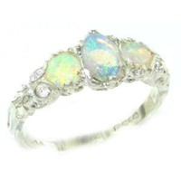 925 Sterling Silver Natural Opal Womens Trilogy Ring - Sizes 4 to 12 Available