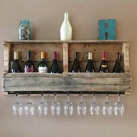 Reclaimed wood wine rack with top shelf- unfinished