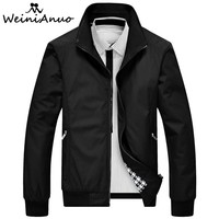 WEINIANUO 2018 Jackets Men Standing Collar Zipper Fashion Jacket Male Baseball Bomber Jackets Men High Quality Jacket Coats  441