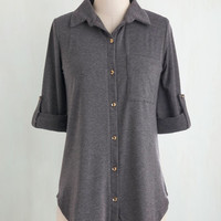 Menswear Inspired Mid-length Short Sleeves Keep it Casual-Cool Top in Charcoal
