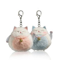 10cm Cute Lucky Cat Plush Toys Kawaii  Pendant Keychain Stuffed Animals