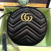 GUCCI Women Fashion Leather Crossbody Round mini Bag Shoulder Bag