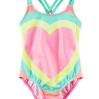 Carter's Glitter Heart Swimsuit