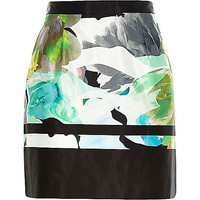 River Island Womens Green water color print A-line skirt