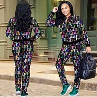 "Hot Sale ""FENDI"" Trending Women Stylish F Letter Long Sleeve Sweater Top Pants Trousers Two Piece Set"