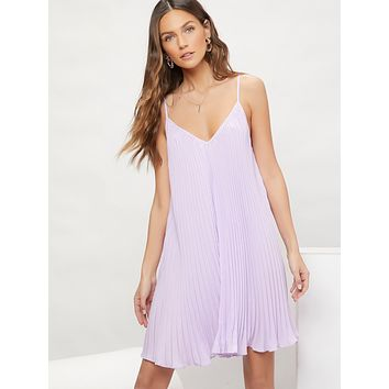 SHEIN Solid Pleated Cami Dress