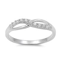 Engraved Silver Ring w/CZ - Infinity,  Any messages engraved inside of ring, simple everyday, wedding , bridesmaid, friends forever
