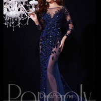 Long Sleeves Beaded Accent Prom Dress By Panoply 14717