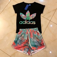 ADIDAS 2019 new classic clover camouflage printed women's camouflage sports suit two-piece Black