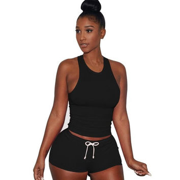 Style Women Sleeveless 1PC Crop Top + Shorts Fitness 2 Piece Set Casual Workout Casual Outfit Two Piece Set For Women #63 SM6