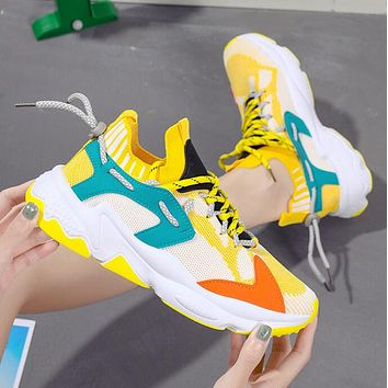 Sports shoes flying woven breathable student ladies old shoes Yellow+Peacock blue