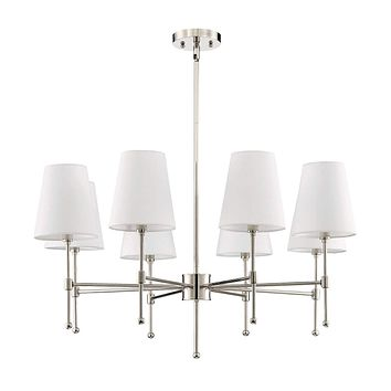 """Park Harbor PHHL6088BKAB Beatty 8 Light 32"""" Wide Chandelier with Fabric Shades"""