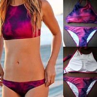 Fuchsia Halter Neck Two Piece Bikini