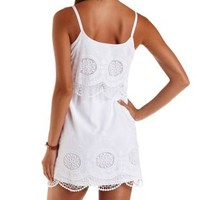 White Embroidered & Layered Flounce Dress by Charlotte Russe
