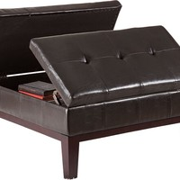 A.M.B. Furniture & Design :: Living room furniture :: Ottomans & Footstools :: Dark brown leather like vinyl flip top storage ottoman with tufted tops and wood legs