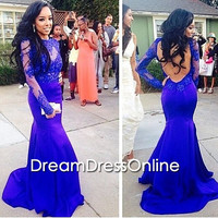 Royal Blue Prom Dress/Mermaid Evening Dress/Cap Sleeves Formal Dress/Backless Sexy Prom Dress/Lace Prom Dress/Prom Dress with Sleeves/Custom