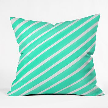 Rebecca Allen Pretty In Stripes Turquoise Throw Pillow