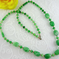Vintage Czech swirl green and gold beaded necklace, statement necklace, beaded necklace