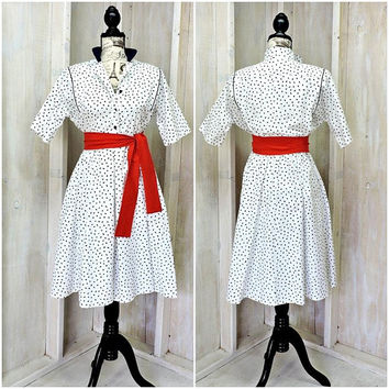 Vintage 80s does 50s full skirt dress /  Cotton summer dress / Petites by Willi USA / size XS 3 / 5
