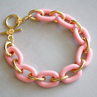 Arm Candy - pink and gold link bracelet