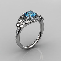 14KT White Gold Diamond Leaf and Vine Blue Topaz Wedding Ring Engagement Ring NN117-14KWGDBT Nature Inspired Jewelry