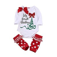2016 New Arrive Autumn Cute Newborn Baby Girl Long Sleeve Bow Romper Bodysuit Sock Outfits Clothes Christmas