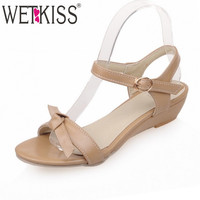 2016 Summer New Style Women Sandals Ankle Strap Bowtie Shoes Woman Wedges Low Heels Sandals Plus Size 33-43 Sandalias Mujer