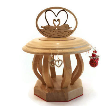 EARRING HOLDER made from Birch wood with heart swans