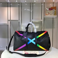 Kuyou Gb29824 Louis Vuitton Lv Mat-black Taiga Leather Travel Keepall Bandouli¨¨re 50 Size:50x29x23cm