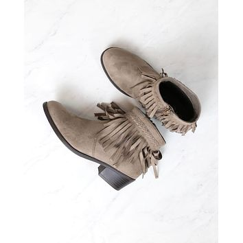 Faux Suede Fringe Western Inspired Boho Ankle Booties in Taupe