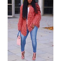 New Pink Faux Fur Irregular Long Sleeve Casual Cardigan Coat