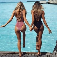 Hot New Arrival Summer Beach Swimsuit Sexy Hot Sale Velvet Backless Bikini [11813549391]