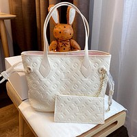 LV simple solid color dark pattern letter logo female shopping bag mother bag two-piece set