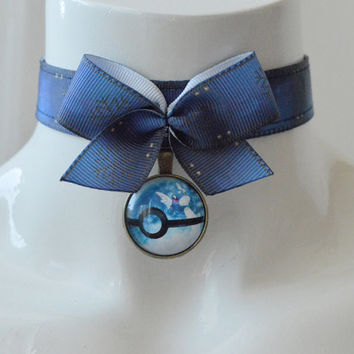Kitten play collar - Dratini - ddlg princess collar pokemon blue team choker with pokeball - jeans blue necklace with pendant