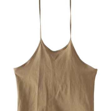 Khaki Halter Backless Cropped Cami Top