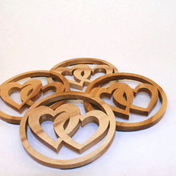 HEARTS Entwined Birch Wood COASTER Set