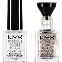 NYX White Nail Lacquer with White Pearls   Nordstrom
