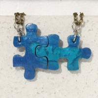 Friendship Pendants for 2 Blue Puzzle Necklaces set of 2 polymer clay jewelry