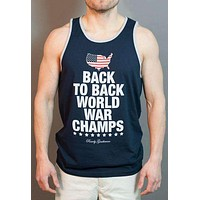 Back to Back World War Champs Tank Top - America Silhouette Edition - in Navy by Rowdy Gentleman