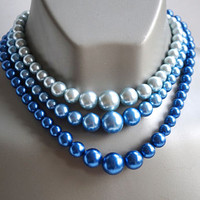 1950s Signed JAPAN Bead Choker in Shades of Blue,Triple Strand Graduated Beads,Blue Pearl Necklace,Something Blue Necklace