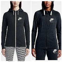 """NIKE"" Autumn Leisure Women Hooded Zipper Sweatshirt Sweater Jacket"