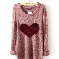 Fluffly Heart Front Knit Sweater